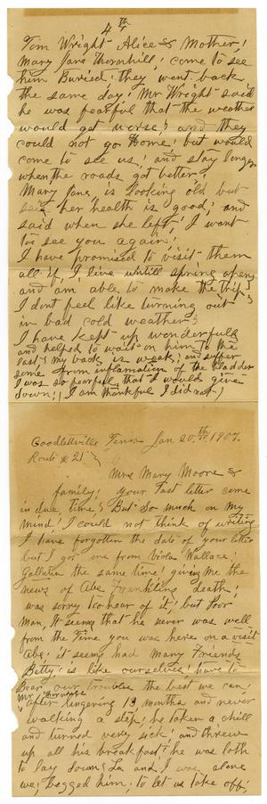 Primary view of object titled '[Letter from Sally Thornhill to Mary Ann Moore, January 20, 1907]'.