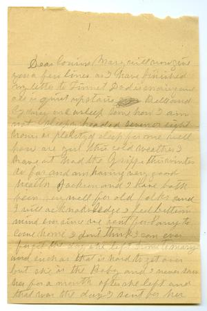 Primary view of object titled '[Letter from Laura Jernigan to Mary Ann Moore, February 5, 1907]'.