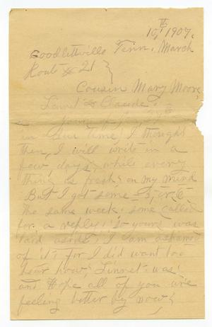 Primary view of [Letter from Sally Thornhill to Mary Ann Moore, Linnet White and Claude D. White, March 10, 1907]