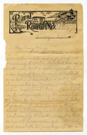 Primary view of object titled '[Letter from Laura Jernigan to Mary Moore, May 12, 1907]'.