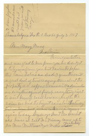 Primary view of object titled '[Letter from Laura Jernigan to Mary Moore, July 2, 1907]'.