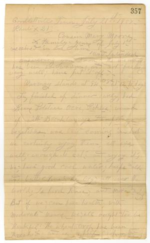 Primary view of object titled '[Letter from Sally Thornhill to Mary Moore, July 21, 1907]'.