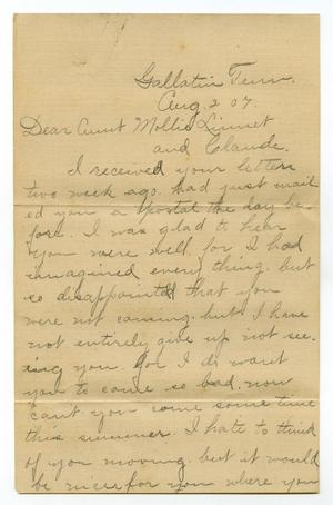 Primary view of [Letter from Birdie McKinley to Mary Moore, Claude and Linnet White, August 2, 1907]