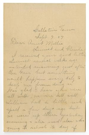 Primary view of object titled '[Letter from Birdie McKinley to Mary Moore, Claude and Linnet White, September 9, 1907]'.