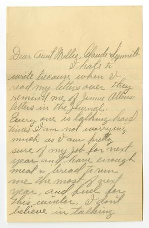 Primary view of object titled '[Letter from W. J. McKinley to Mary Ann Moore and Claude D. and Linnet White, November 1907]'.