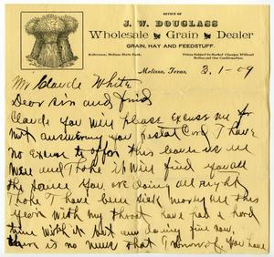 Primary view of [Letter from J. W. Douglass to Claude D. White, March 1, 1909]