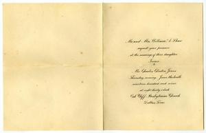 Primary view of [Invitation from Mr. and Mrs. William A. Shaw for Mr. and Mrs. Claude White, May 26, 1909]
