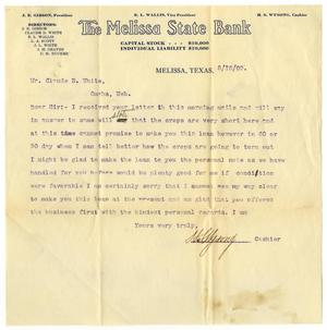 Primary view of [Letter from the Melissa State Bank to Claude D. White, August 16, 1909]