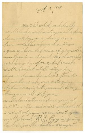 Primary view of object titled '[Letter to Claude D. White, October 3, 1909]'.