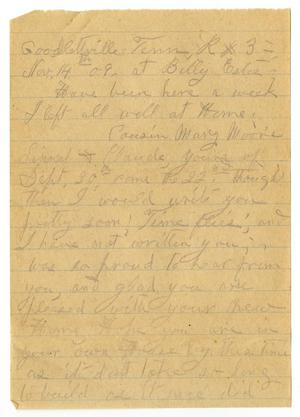 Primary view of object titled '[Letter from Sally Thornhill to Mary Moore, Claude and Linnet White, November 15, 1909]'.