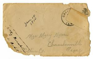 Primary view of object titled '[Envelope for Mary Moore, January 10, 1910]'.