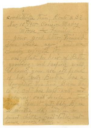 Primary view of object titled '[Letter from Sally Thornhill to Mary Moore, November 10,1910]'.