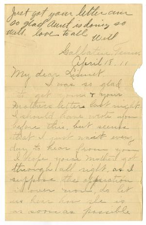 Primary view of object titled '[Letter from Birdie McKinley to Linnet White, April 18, 1911]'.