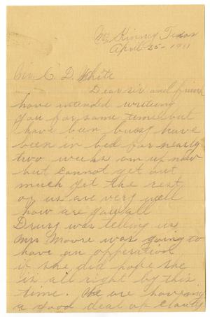Primary view of [Letter from J. W. Berry to Claude D. White,  April 25, 1911]