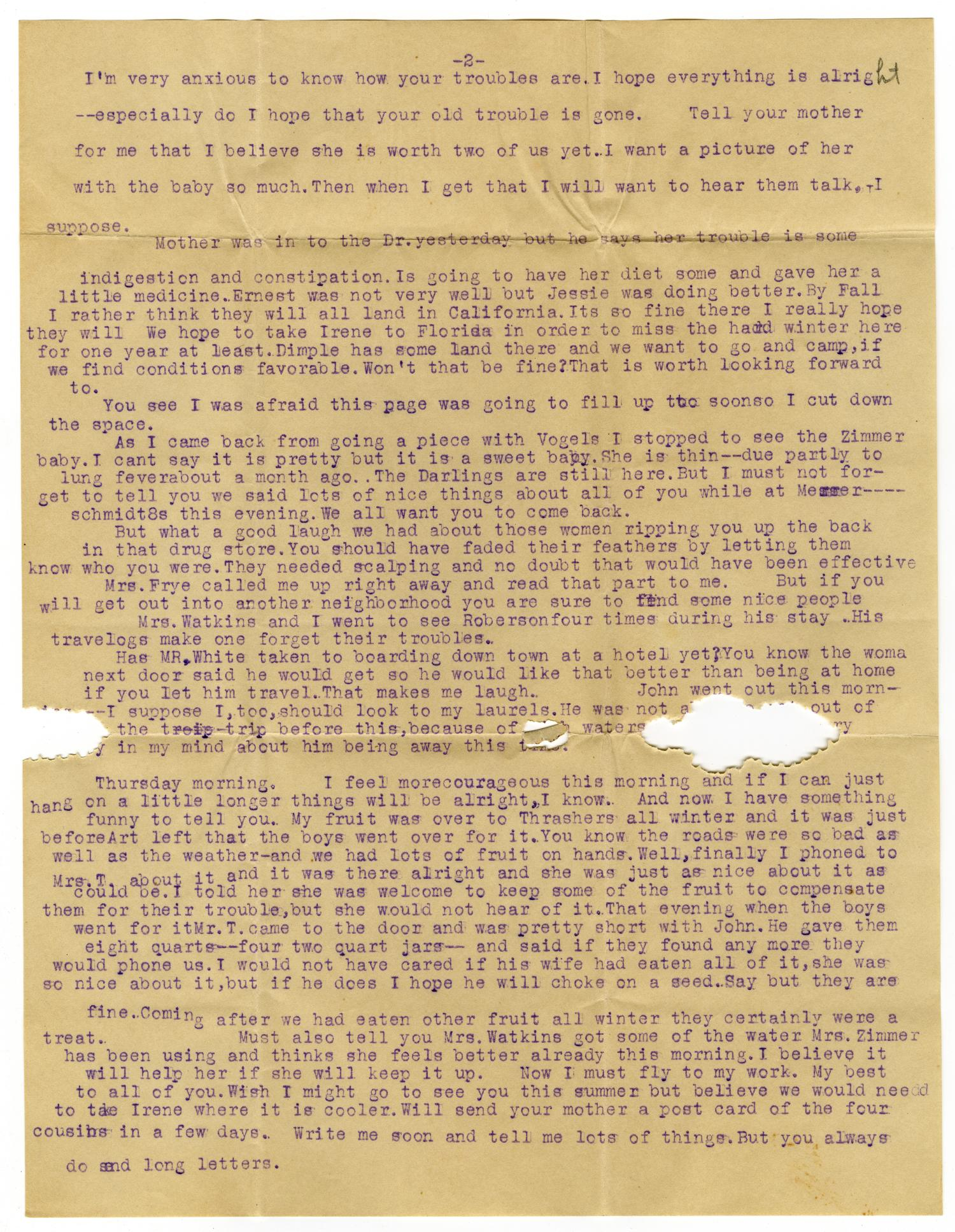 [Letter from Cora Robertson to Mrs. Linnet White, April 3, 1912]                                                                                                      [Sequence #]: 3 of 6