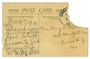 Primary view of object titled '[Postcard addressed to Mary Moore, December 19, 1913]'.