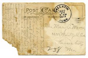 Primary view of [Postcard to Mary Ann Moore, December 29, 1913]