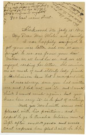Primary view of object titled '[Letter from Mrs. Edgar Smith to Linnet White, July 15, 1914]'.