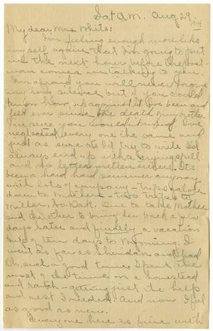 Primary view of object titled '[Letter from Cora Robertson to Linnet White, August 29, 1914]'.