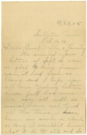 Primary view of object titled '[Letter from Birdie McKinley to Mollie Moore and Family, October 11, 1914]'.