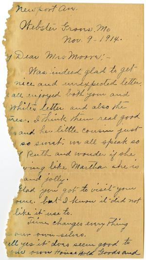 Primary view of object titled '[Letter from Mrs. Edgar Smith to Mary Moore, November 9, 1914]'.