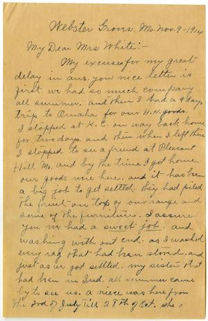 Primary view of object titled '[Letter from Mrs. Edgar Smith to Linnet White, November 9, 1914]'.