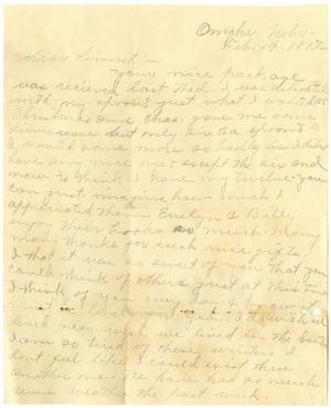 Primary view of object titled '[Letter from Lula Watkins to Linnet White, February 5, 1917]'.