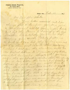 Primary view of object titled '[Letter from Dr. M. L. Orthum to Linnet White, February 14, 1917]'.