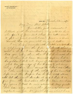 Primary view of object titled '[Letter from Mattie L. Arthur to Linnet White, March 30, 1917]'.
