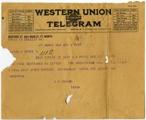 Primary view of object titled '[Telegram from A. P. Condon to Claude D. White, April 3, 1917]'.