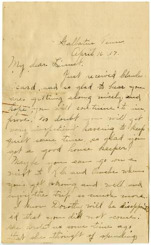Primary view of [Letter from Birdie McKinley to Linnet White, April 16, 1917]