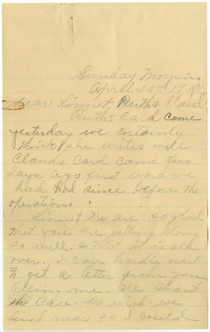 Primary view of object titled '[Letter from Lula Watkins to Linnet, Ruth, and Claude D. White, April 22, 1917]'.