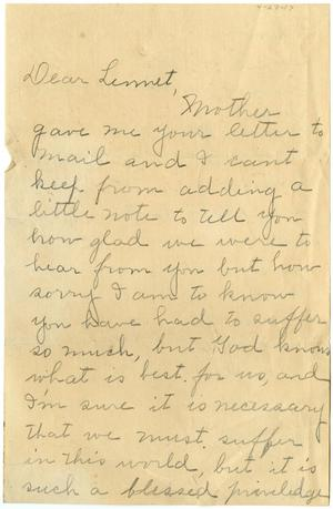 Primary view of object titled '[Letter from Anne B. McKey to Linnet White, April 27, 1917]'.