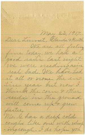 Primary view of object titled '[Letter from Alice G. to Linnet, Claude, and Ruth White, May 22, 1917]'.