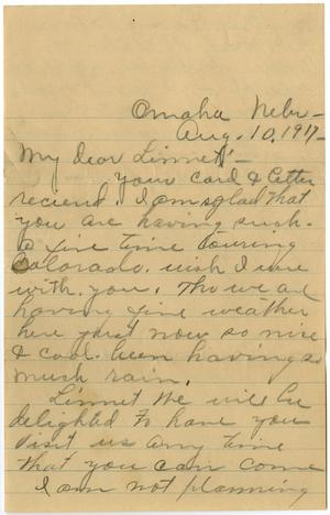 Primary view of object titled '[Letter from Lula to Linnet White, August 10, 1917]'.