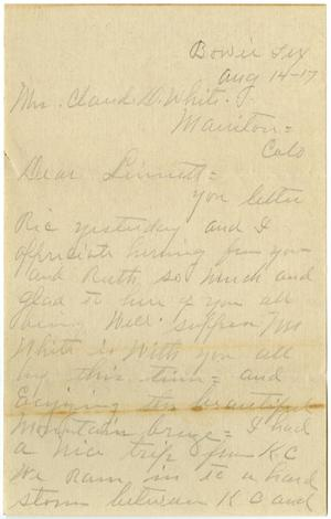Primary view of object titled '[Letter from M. C. V. to Linnet White, August 14, 1917]'.