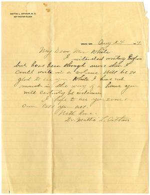 Primary view of object titled '[Letter from Mattie L. Arthur to Linnet White, August 24, 1917]'.