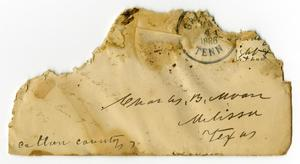 Primary view of [Envelope addressed to Charles B. Moore from Dinkie McGee, January 3, 1886]