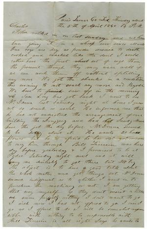 Primary view of [Letter from Henry S. Moore to Charles B. Moore, April 5, 1860]