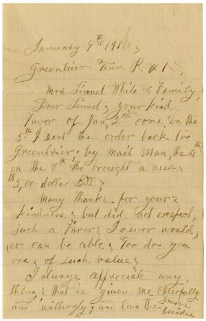Primary view of [Letter from Sally Thornhill to Linnet White, January 9, 1914]
