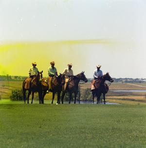 Primary view of object titled '[Group with Trophy on Horseback]'.