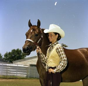 Primary view of object titled '[Girl with Horse on Wayne Bell Ranch]'.