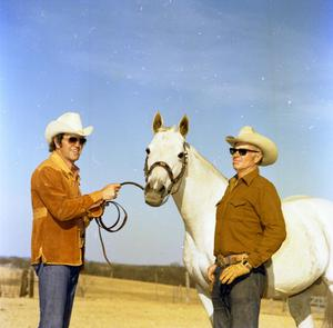 Primary view of object titled '[Mike Hughes and Man with Horse]'.