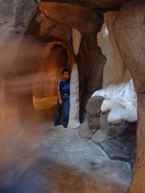 Primary view of object titled '[Boy and stalagmite]'.