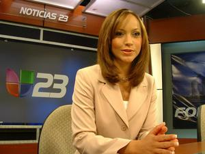 Primary view of object titled '[Satcha and the Univision 23 logo]'.