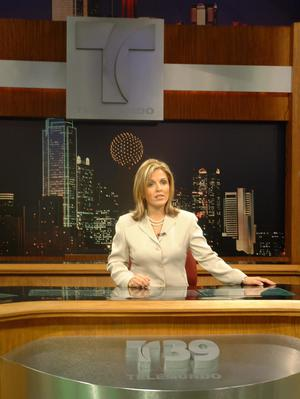 Primary view of object titled '[Claudia, Telemundo logo, and Dallas skyline]'.