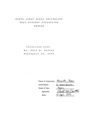 Primary view of object titled 'Oral History Interview with Uell M. Carter and George Killian, September 19, 1970'.