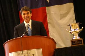 Primary view of object titled '[Rick Perry and the Governor's Cup]'.