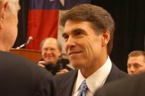 Primary view of object titled '[Greeting Rick Perry]'.