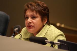 Primary view of object titled '[Pauline Medrano speaks into microphone]'.